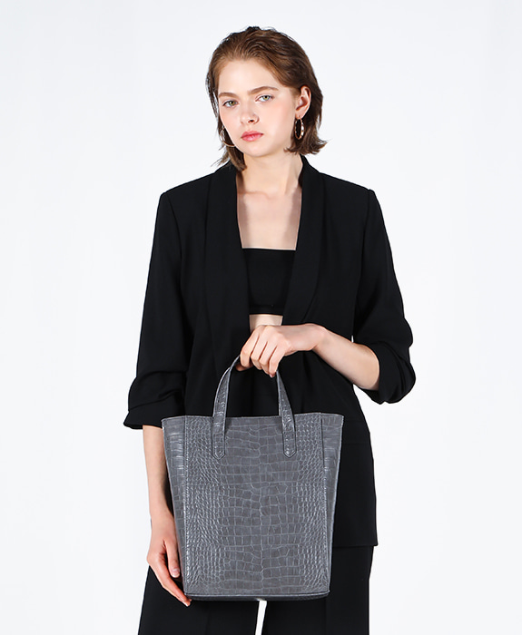 [록체] Janet Tote Bag Large Charcoal