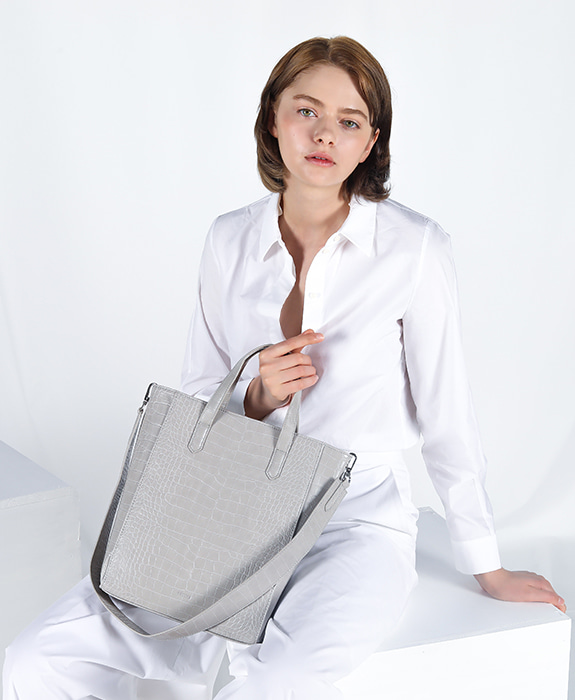 [록체] Janet Tote Bag Large Light Gray