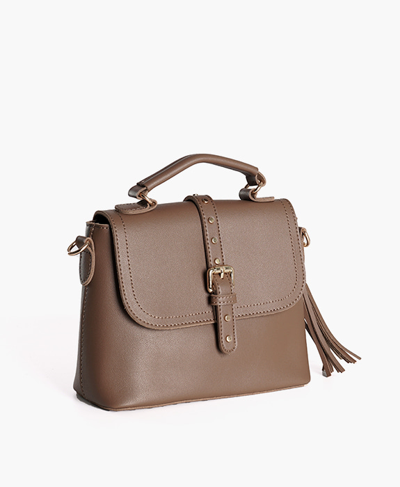 [뮤엘] Hepburn tote cross bag - brown